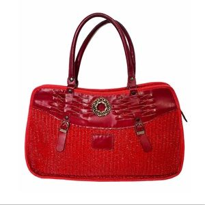 Vntage Woven Straw Satchel Vegan Leather Red Large